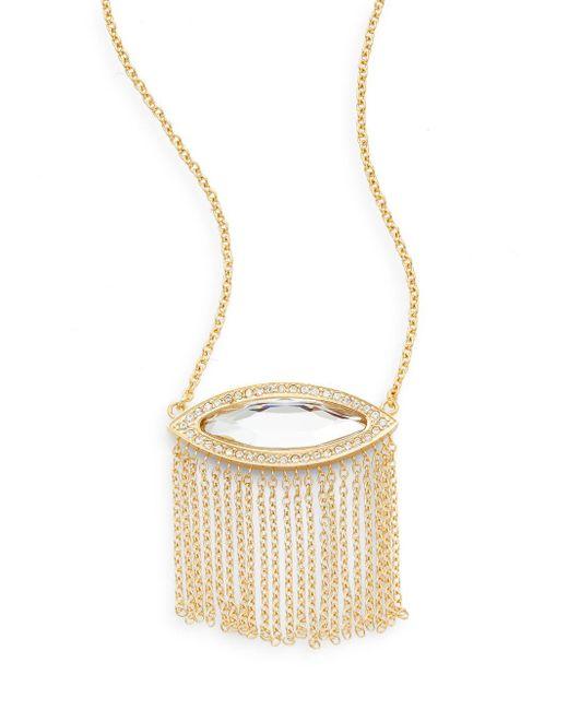 Rebecca Minkoff   Metallic Phoenix White Stone Fringe Pendant Necklace/goldtone   Lyst