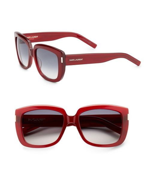 Saint Laurent | Red Sqaure Acetate Sunglasses | Lyst