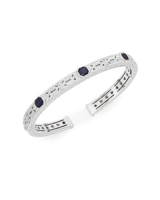 Judith Ripka | Metallic Estate Blue Corundum, White Sapphire & Sterling Silver Cuff Bracelet | Lyst