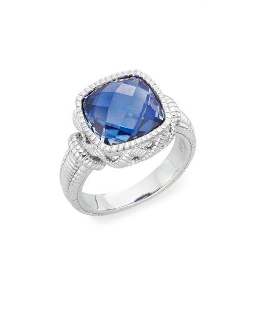 Judith Ripka | Metallic Basketweave Blue Corundum & Sterling Silver Ring | Lyst