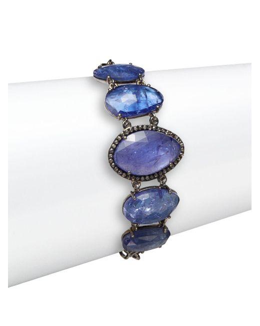 Bavna   Purple Tanzanite, Champagne Diamond & Sterling Silver Station Bracelet   Lyst