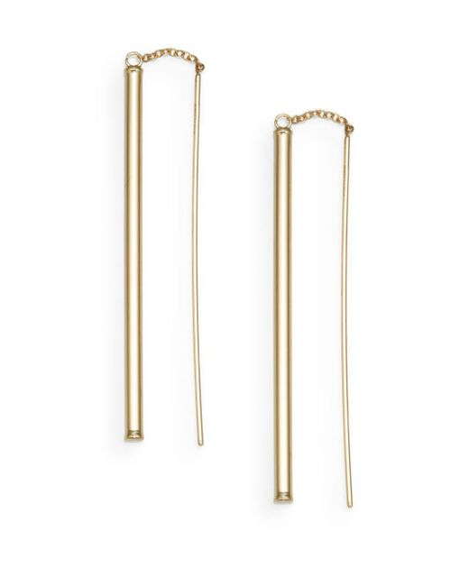 Saks Fifth Avenue | Metallic 14k Yellow Gold Threader Drop Earrings | Lyst