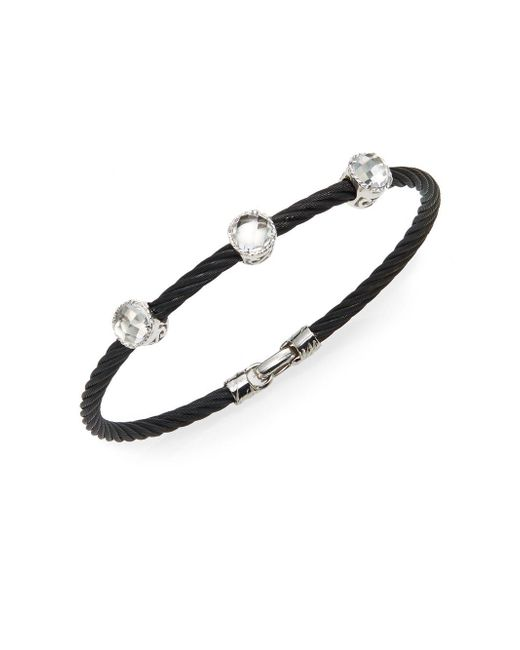 Alor | Noir White Topaz, 18k White Gold & Black Stainless Steel Bangle Bracelet | Lyst