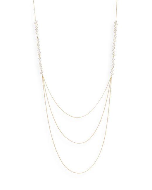 Adriana Orsini | Metallic Mixed White Stone Three-row Necklace/goldtone | Lyst