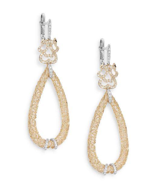 Effy | Metallic Diamond, 14k Yellow & White Gold Filigree Teardrop Earrings | Lyst