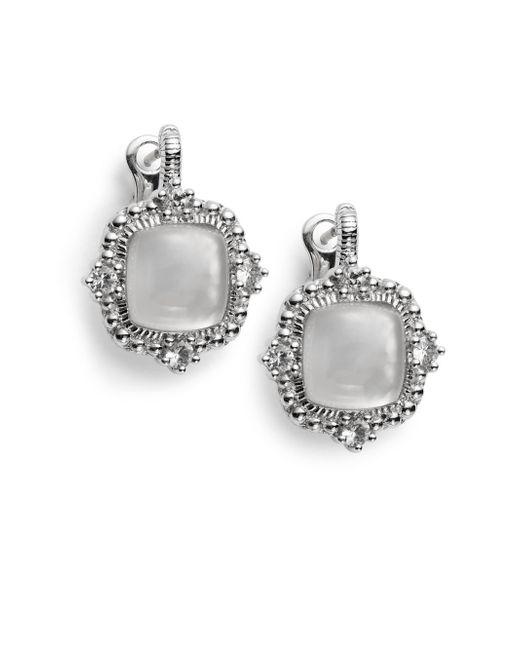 Judith Ripka | La Petite Mother-of-pearl, White Sapphire & Sterling Silver Doublet Earrings | Lyst