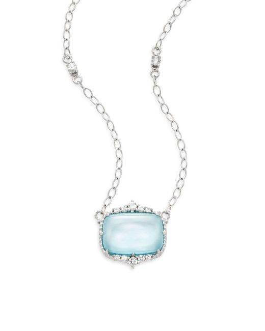 Judith Ripka | Metallic Chantilly White Sapphire, Blue Crystal, Mother-of-pearl & Sterling Silver Pendant Necklace | Lyst