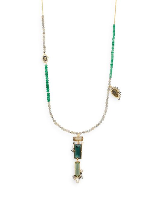 Alexis Bittar | Metallic Elements Pyrite, Labradorite, Green Quartz & Crystal Beaded Pendant Necklace | Lyst