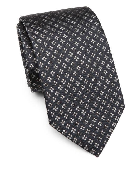 Armani | Blue Cross Print Silk Tie for Men | Lyst