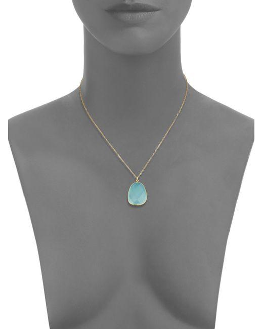 Argento Vivo | Metallic Aqua Chalcedony & 18k Goldtone Sterling Silver Pendant Necklace | Lyst