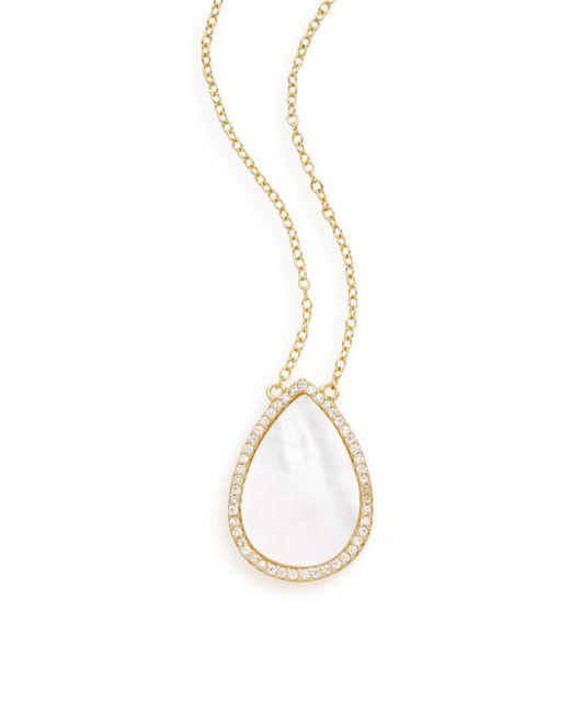 Argento Vivo | Metallic Mother-of-pearl, White Stone & 18k Yellow Gold Vermeil Teardrop Pendant Necklace | Lyst