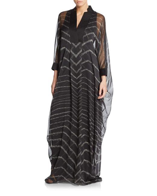 Halston | Black Diamond Scarf Neck Gown | Lyst