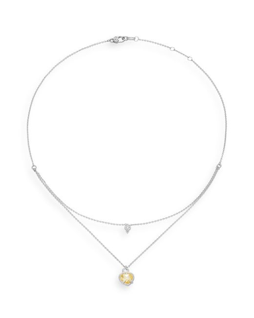 Judith Ripka | Metallic La Petite Diamond, Crystal & Sterling Silver Double-layer Heart Pendant Necklace | Lyst