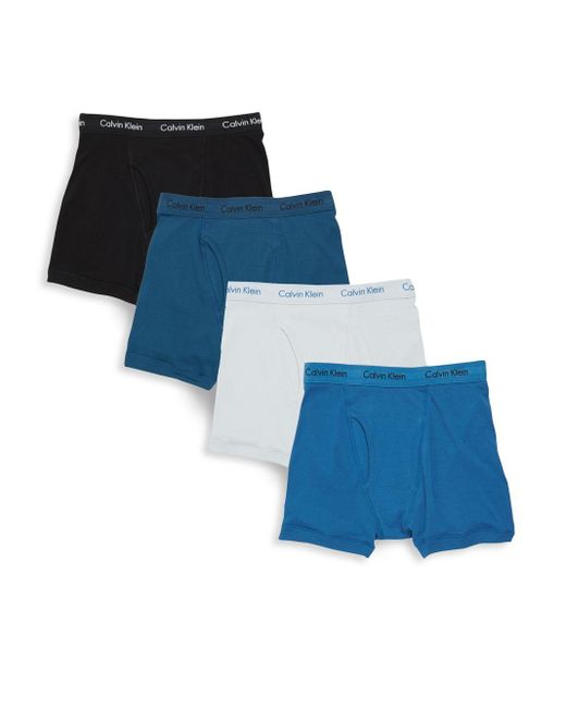 calvin klein cotton boxer briefs set of 4 in blue for men. Black Bedroom Furniture Sets. Home Design Ideas