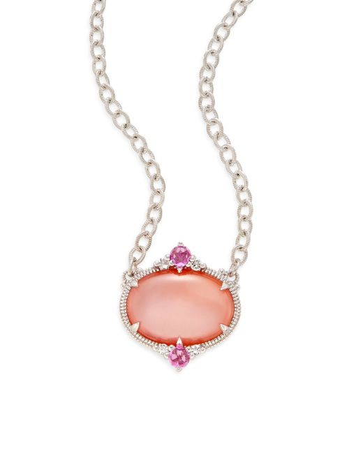 Judith Ripka | Metallic Allure White Sapphire, Rock Crystal, Pink Corundum, Pink Mother-of-pearl & Sterling Silver Oval Drop Necklace | Lyst