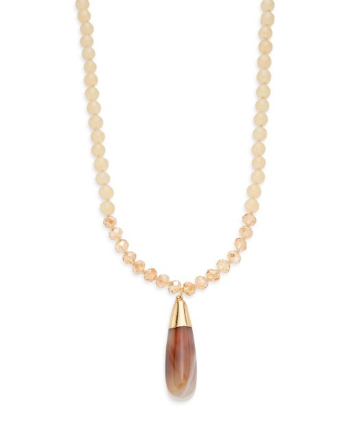Saks Fifth Avenue | Metallic Agate Beaded Pendant Necklace | Lyst