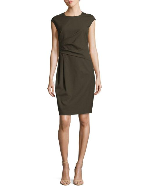 Lafayette 148 New York | Black Sleeveless Crewneck Cotton Blend Dress | Lyst