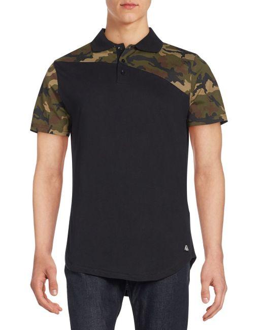 American stitch camo print polo shirt in black for men lyst for Camo polo shirts for men