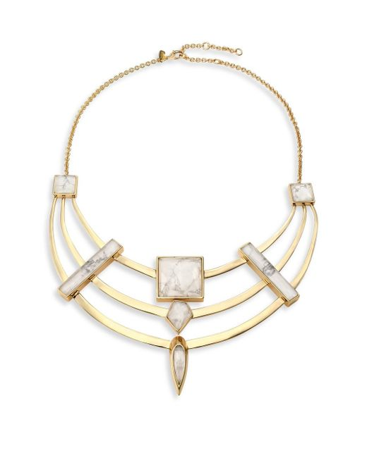 Alexis Bittar | Metallic Miss Havisham Deconstructed Deco Howlite & Crystal Armored Bib Necklace | Lyst