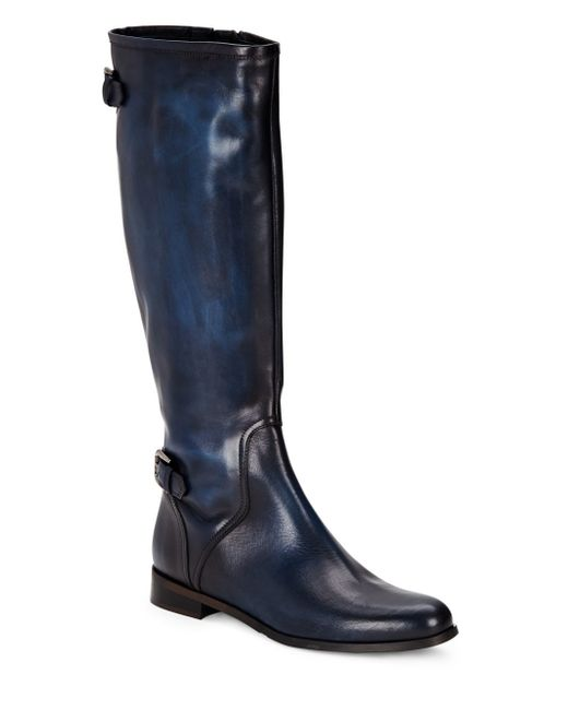 saks fifth avenue leather knee high boots in blue lyst