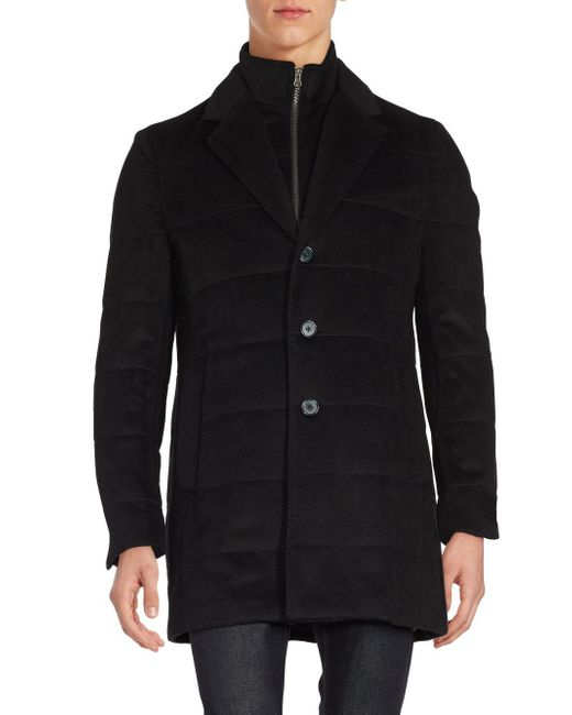 Saks Fifth Avenue | Black Wool And Cashmere Coat for Men | Lyst
