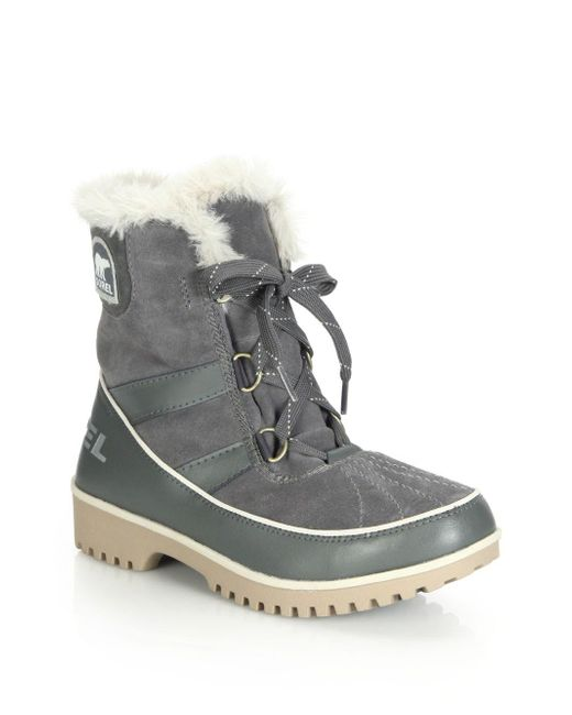 Sorel | Gray Tivoli Ii Faux Fur-trimmed Suede & Leather Lace-up Boots | Lyst
