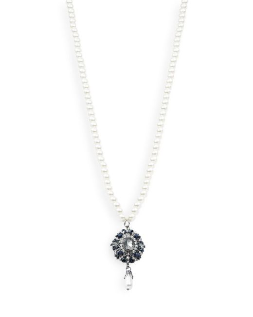 Cara | White Pearl Pendant Necklace | Lyst