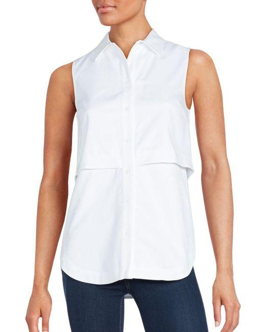 Proenza schouler sleeveless button down popover shirt in for Sleeveless cotton button down shirts