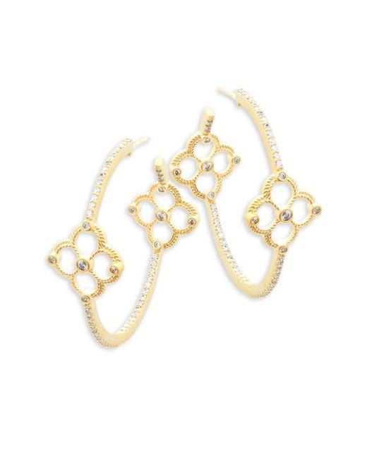 Freida Rothman | Metallic Classic Cz & 14k Gold-plated Sterling Silver Clover Station Hoop Earrings | Lyst