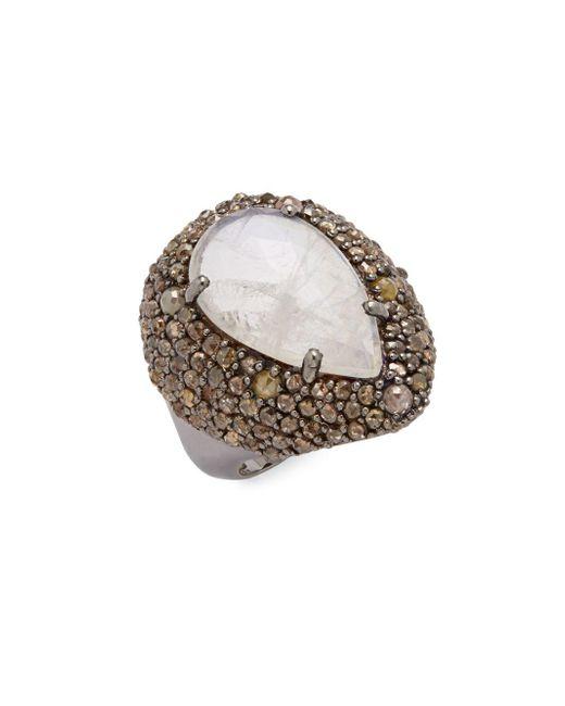 Bavna | Metallic Diamond, Moonstone & Sterling Silver Ring | Lyst