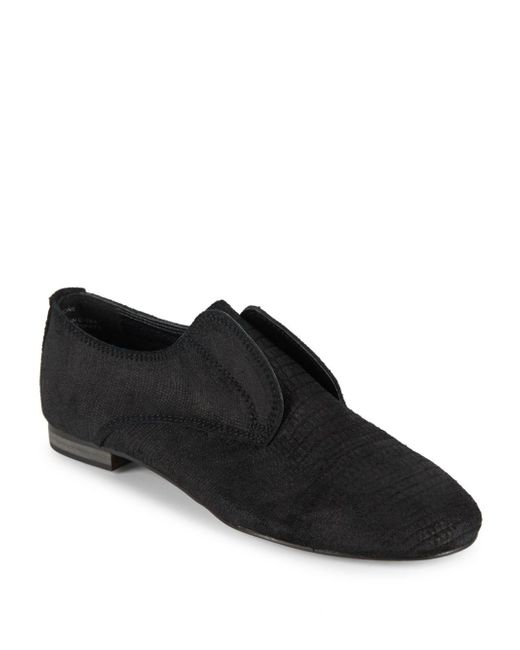 Saks Fifth Avenue | Black Leather Laceless Oxfords for Men | Lyst