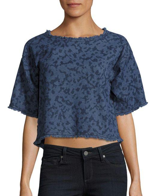 Calvin Klein Jeans   Blue Frayed Cotton Crop Top   Lyst