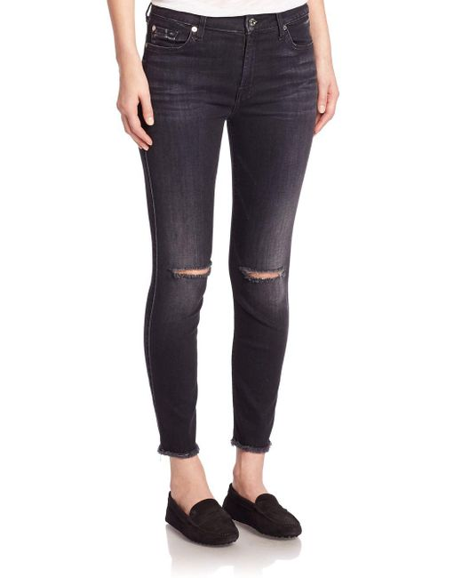 7 for all mankind High-waist Distressed Ankle Skinny Jeans in ...
