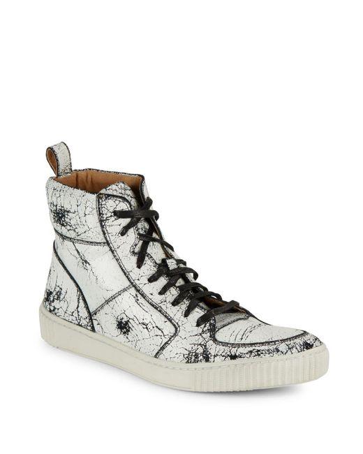 John Varvatos | Brown Bedford Leather High-top Sneakers for Men | Lyst