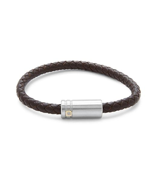 Saks Fifth Avenue | Brown 14k Gold Stainless Steel & Leather Bracelet | Lyst