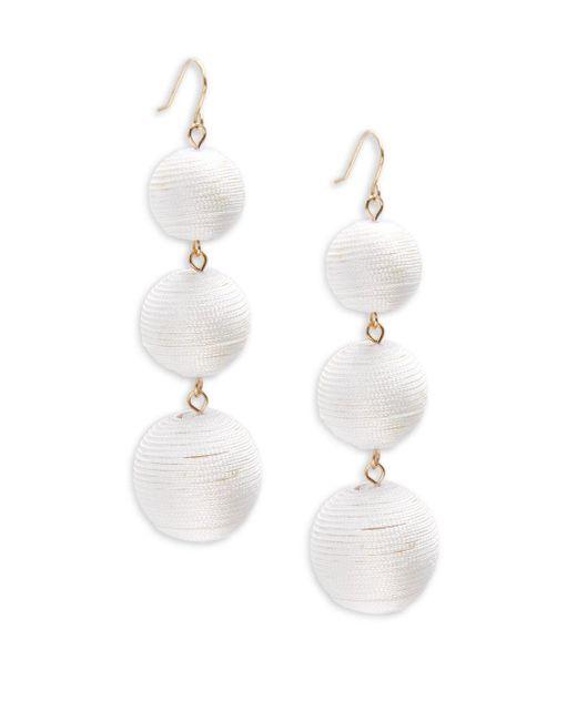 Gemma Simone | White Multicolor Triple Drop Pom-pom Earrings | Lyst