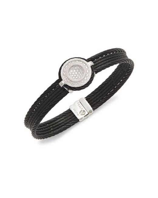 Alor   Black 18k White Gold & Diamond Cable Bracelet   Lyst