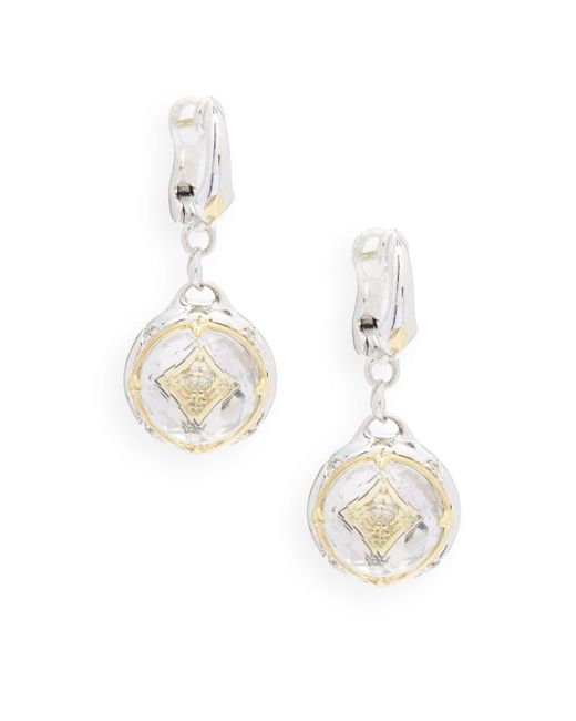 Judith Ripka   Metallic Windrose Diamond, Rock Crystal & Sterling Silver Drop Earrings   Lyst