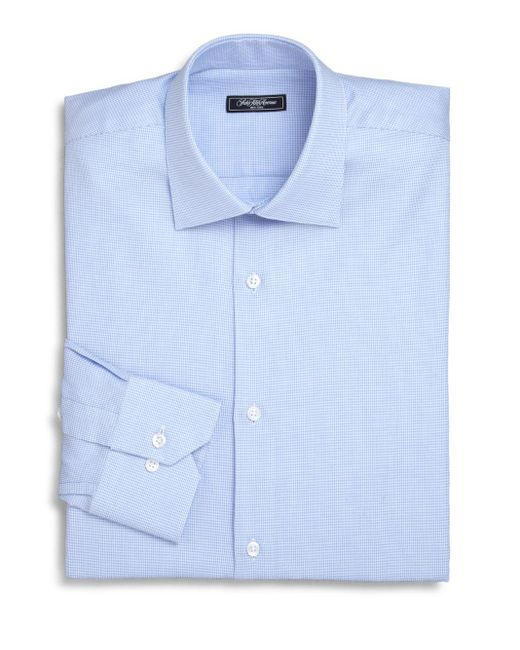Saks Fifth Avenue | Blue Trim-fit Micro Houndstooth Dress Shirt for Men | Lyst