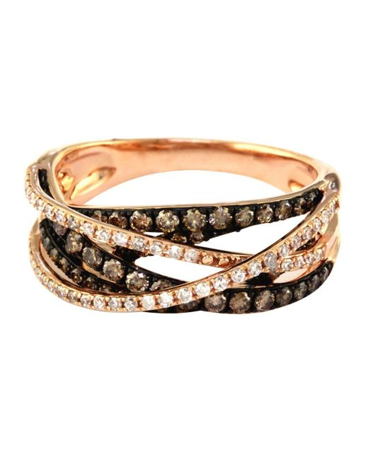 Effy | Metallic 14kt. Rose Gold Brown And White Diamond Crossover Ring | Lyst