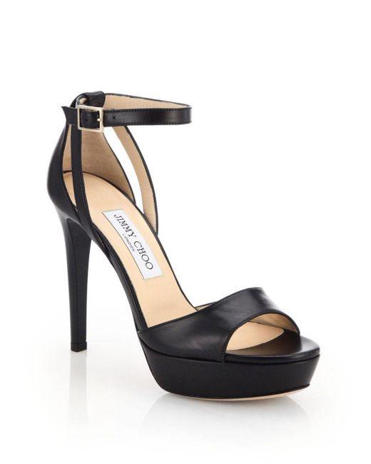 Jimmy Choo | Black Kayden 115 Leather Sandals | Lyst