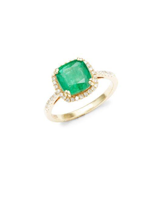Effy   Metallic Diamond, Natural Emerald & 14k Yellow Gold Solitaire Ring   Lyst