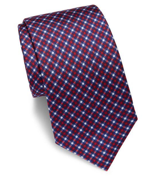 Saks Fifth Avenue | Blue Houndstooth Silk Tie for Men | Lyst