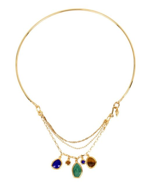 Diane von Furstenberg | Metallic Mixed Reconstituted Stone Goldplated Collar Necklace | Lyst