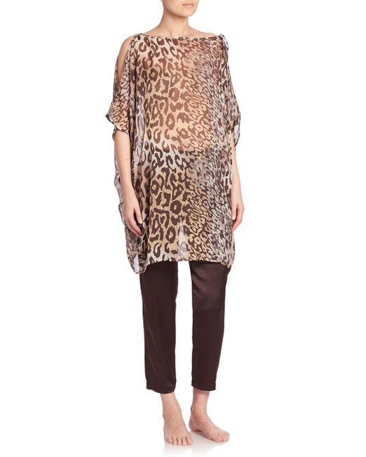Natori | Multicolor Shadow Leopard Silk Tunic | Lyst