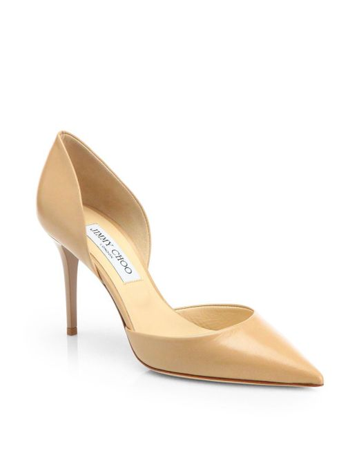 Jimmy Choo | Natural Addison 80 Leather D'orsay Pumps | Lyst
