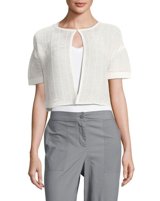 Lafayette 148 New York | Gray Shadow Striped Cropped Top | Lyst