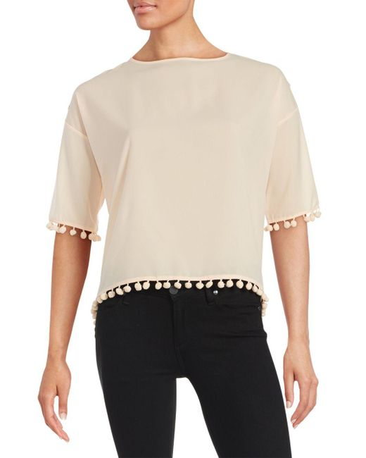 French Connection | Black Pompom-trim Crepe Top | Lyst
