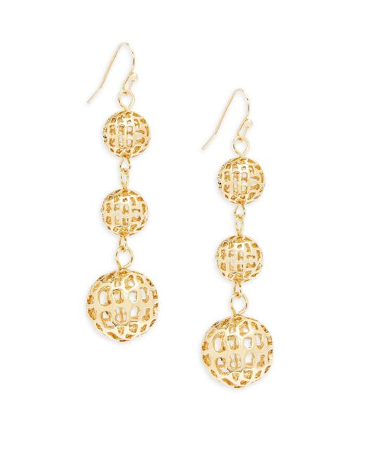 Saks Fifth Avenue | Metallic Filigree Linear Earrings | Lyst