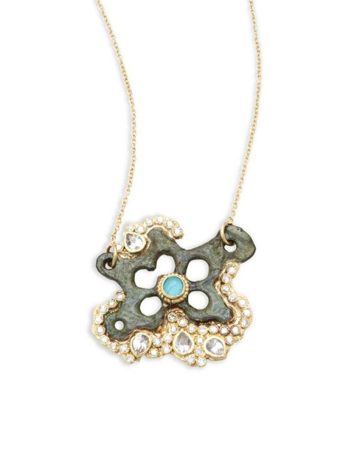 Armenta | Metallic Sueno White Diamond, Turquoise Sapphire, White Sapphire & 18k Goldplated Star Pendant Necklace | Lyst